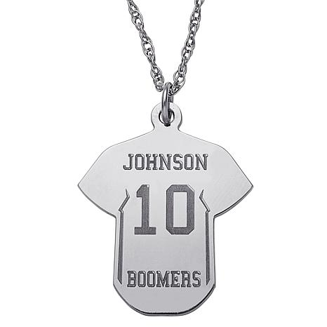 Engraved Baseball Jersey Silver Pendant with Rope Chain