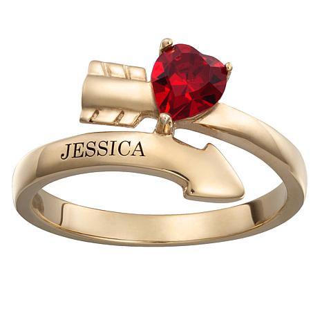 Engraved Heart Crystal Birthstone Arrow Bypass Ring