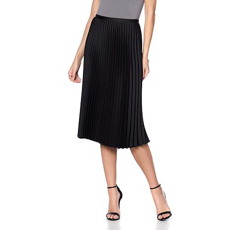 Eva Longoria Satin Crepe Pleated Skirt
