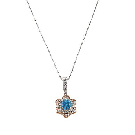 Ever Brilliant 0.86ctw Lab-Grown Blue and White Diamond Floral Pendant