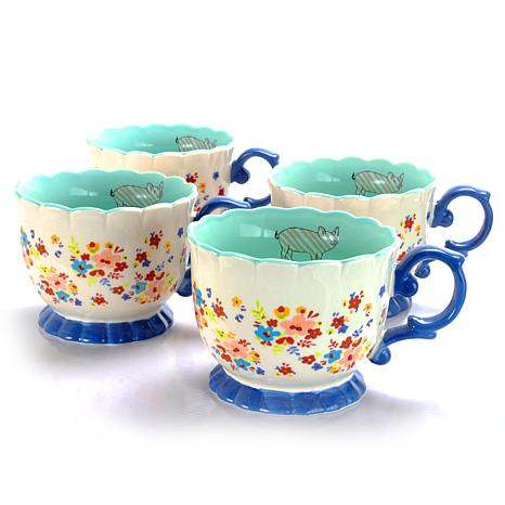Farm Heart  20 oz Footed Tea Cup, Cream  Floral Design Set of 4