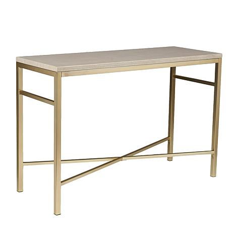 Ferris Faux Stone Console Table - Faux Travertine