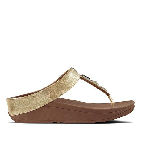 FitFlop Roka Leather Jeweled Thong Sandal