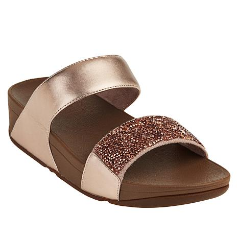FitFlop Sparkle Crystal Leather Slide Sandal