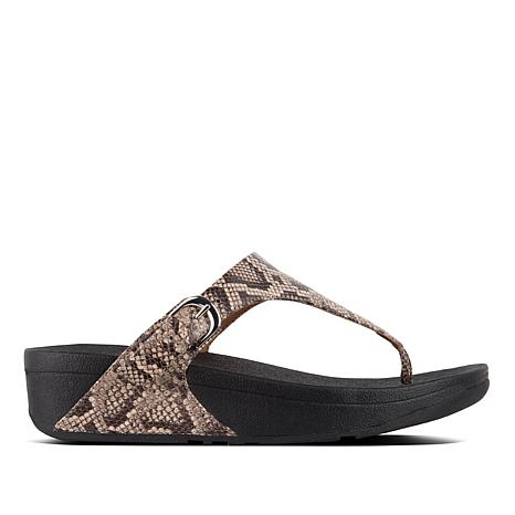 FitFlop The Skinny Leather Toe Post Sandal - Snake Print