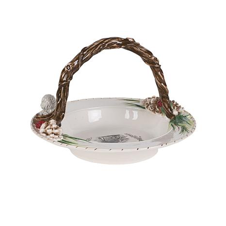 Fitz and Floyd Forest Frost Round Basket