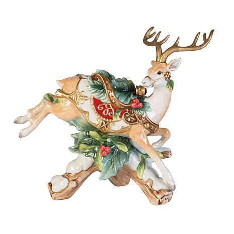 Fitz and Floyd Yuletide Holiday Reindeer Candleholder-R