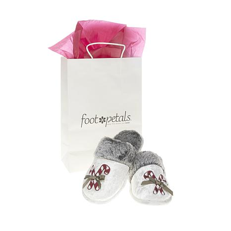 Foot Petals Embroidered Crushed Velour Holiday Slipper