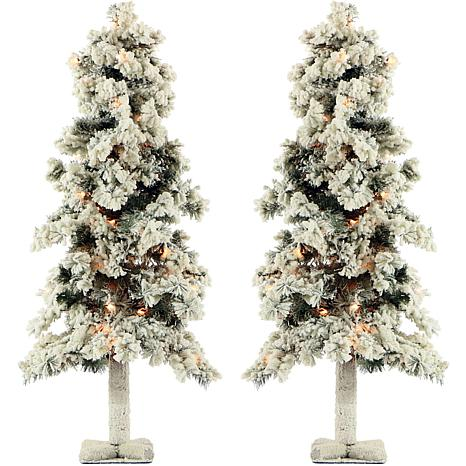 Fraser Hill Farm 3' Snowy Alpine Trees with Clear Lights - Set of 2