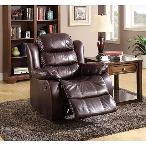 Furniture Of America Naya Leather Like Recliner Rustic Dk Brown 8620387 Hsn