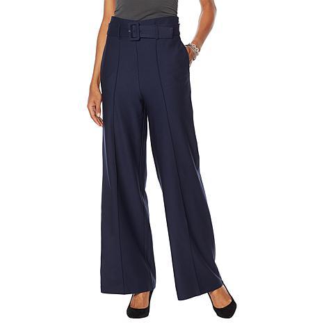 G by Giuliana High-Waisted Twill Ponte Wide-Leg Pant