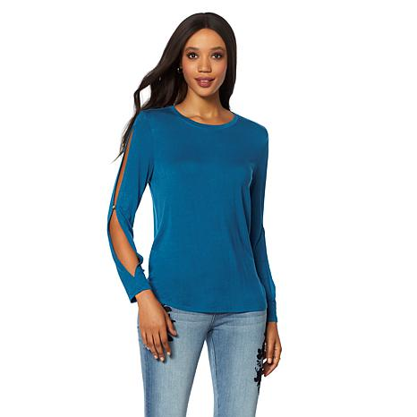 G by Giuliana Long-Sleeve Top with Slit Sleeves