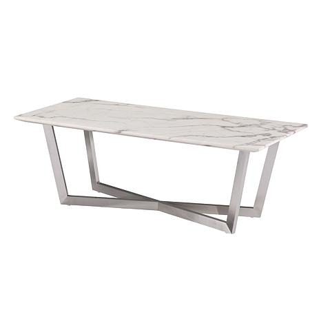 ... Gastyn Faux Marble Cocktail Table   Soft Ivory W/Gray ...