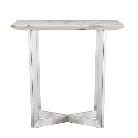 ... Gastyn Faux Marble End Table   Soft Ivory With Gray ...