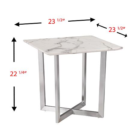 ... Gastyn Faux Marble End Table   Soft Ivory With Gray