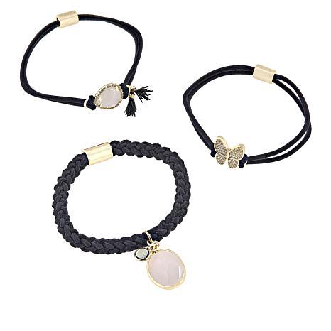 "Gemtye ""Butterfly"" 3-piece Black Bracelets/Hair Ties"