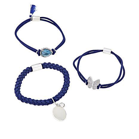 """Gemtye """"Butterfly"""" 3-piece Blue Bracelets/Hair Ties"""
