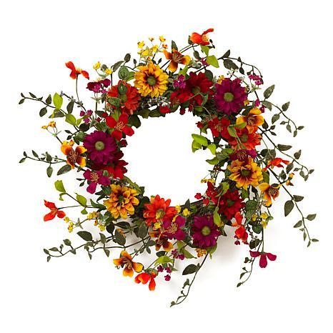 "Gerson 24""Dia. Assorted Wild Flower Twig Wreath"