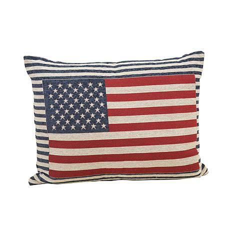 Gerson Jacquard Patriotic Flag Throw Pillow