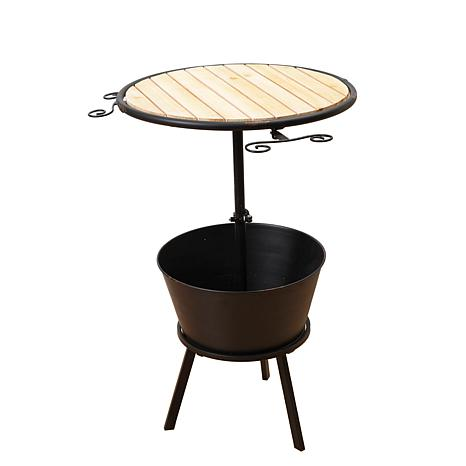 Gerson Metal and Wood Outdoor Wine Table with Ice Bucket