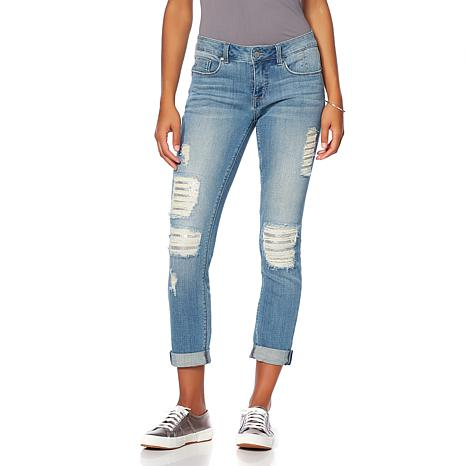 GG by Giuliana Sequin Distressed Slim Boyfriend Jean