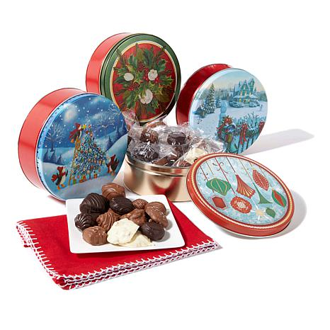 Giannios (4) 1 lb. Holiday Tins of Assorted Chocolate