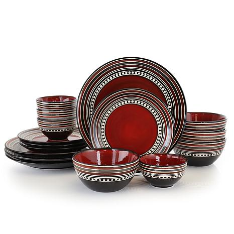Gibson Elite Café Versailles 16-piece Double Bowl Dinnerware Set - Red