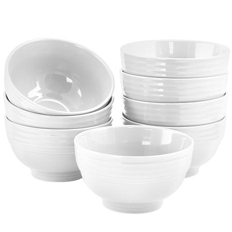 """Gibson Home Cafe Vibes 8-piece Set of 6"""" Bowls in White"""
