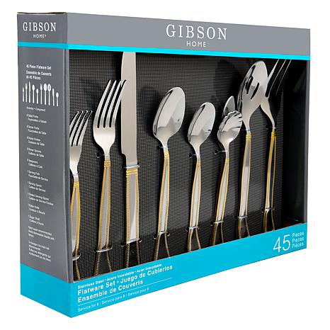 Piece Flatware Set With Gold Accent