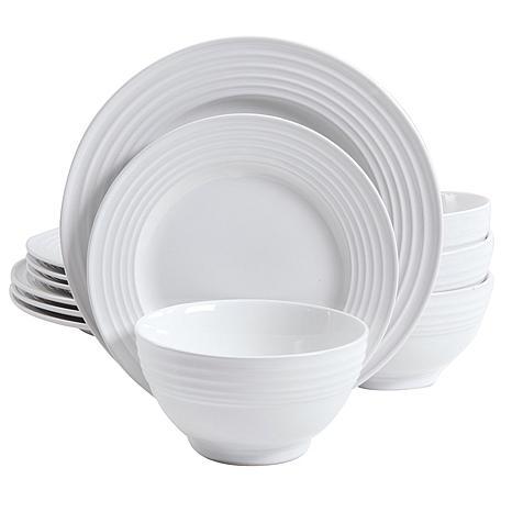Gibson Home Plaza Café 12-piece Dinnerware Set in White