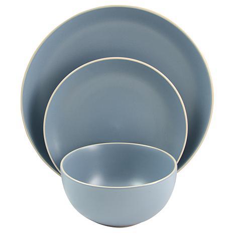 Gibson Home Rockaway 12 Piece  Dinnerware in Matte Blue Set