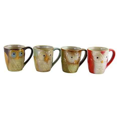 Gibson Owl City Owl-Shaped 4-piece Mug Set