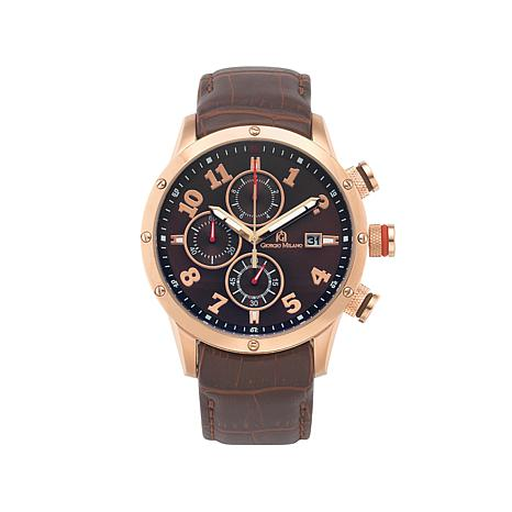 Giorgio Milano Brown Dial Brown Leather Strap Rosetone Watch