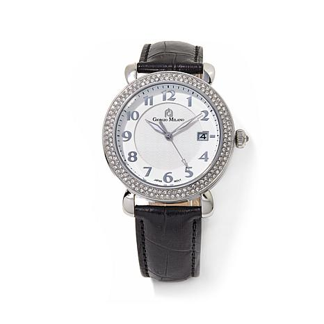 Giorgio Milano Crystal Bezel Black Leather Strap Watch