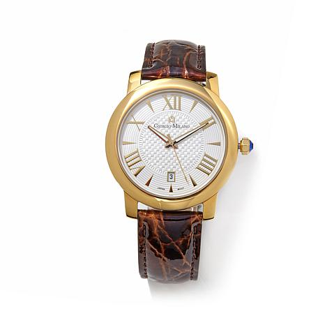 Giorgio Milano White Dial Brown Iced  Leather Watch