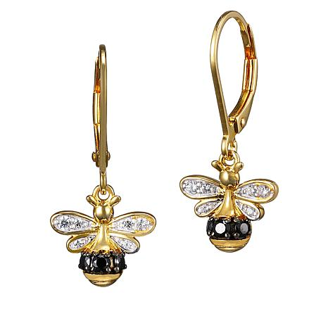 Gold-Plated Cubic Zirconia Bumblebee Lever Back Earrings