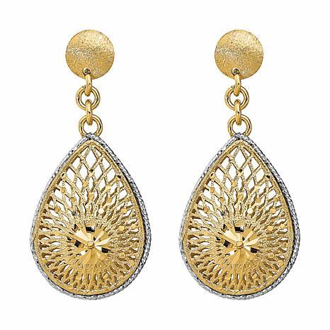 Golden Treasures 14K Diamond-Cut Filigree Teardrop Dangle Earrings