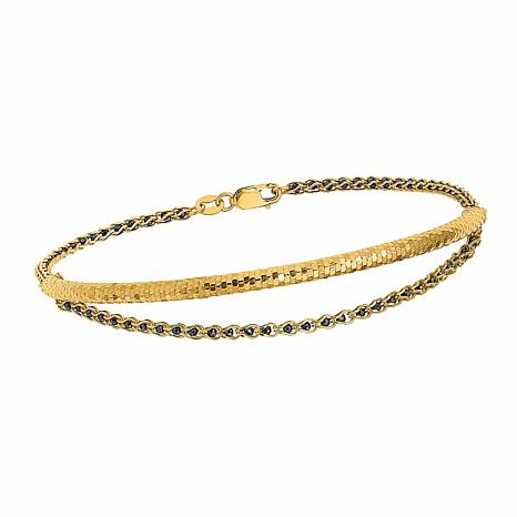 Golden Treasures 14K Gold Diamond-Cut Black Crystal Chain  Bracelet