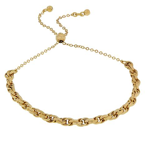 Italian Gold Chain >> Exclusive Golden Treasures 14k Italian Gold Rope Chain Adjustable Bracelet