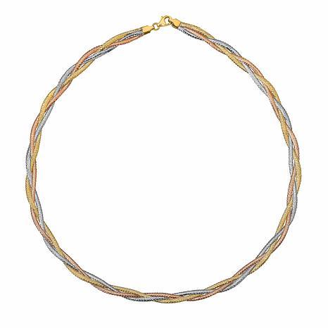 Golden Treasures 14K Italian Tri-Colored Gold Stretch Necklace