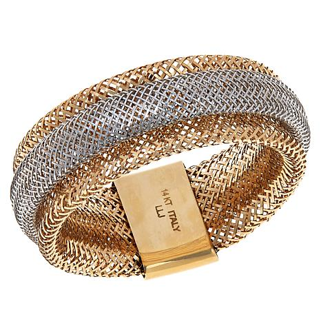 Golden Treasures 2-Tone 14K Italian Gold Woven Mesh Ring