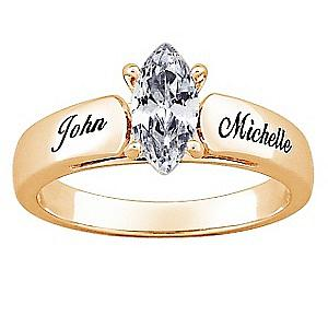 Goldtone Marquise CZ Personalized Wedding Ring