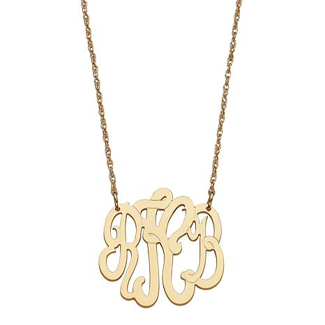 """Goldtone Sterling Silver 3-Initial Monogram 19"""" Necklace"""