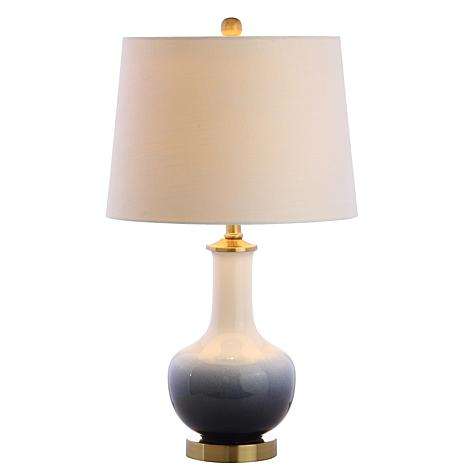 "Gradient 25"" Ceramic and Brass LED Table Lamp by JONATHAN Y"
