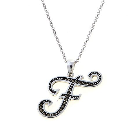 "Gray Marcasite Sterling Silver ""F"" Initial Pendant"