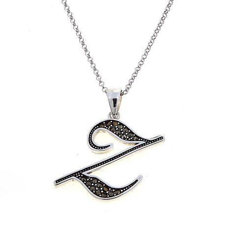 "Gray Marcasite Sterling Silver ""Z"" Initial Pendant"