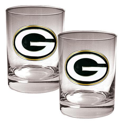 Green Bay Packers 2pc Rocks Glass Set