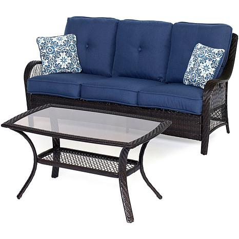 Hanover Orleans 2-Piece Brown Patio Set - Navy Blue