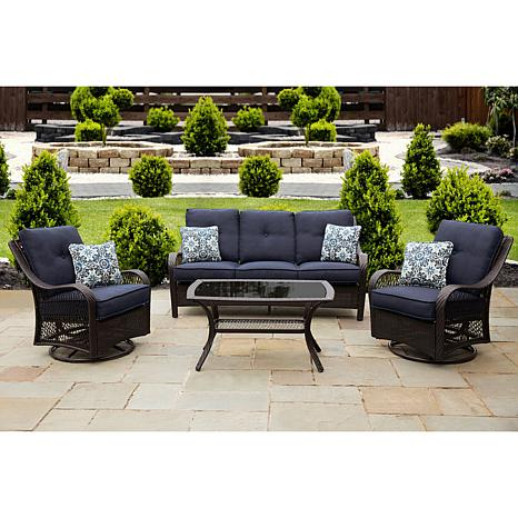 Orleans 4 Piece All Weather Patio Set In Navy Blue   8030278 | HSN