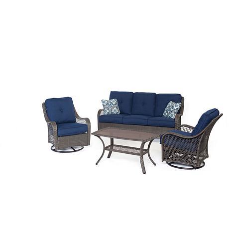 Hanover Orleans 4-Piece Gray Patio Set - Navy Blue
